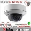 Оригинальный английский IP камера DS-2CD2742FWD-IS 4MP HD 1080 P ик вари - координатор купольная сетевая камера POE камеры видеонаблюдения 2.8 ~ 12 мм аудио WDR