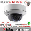 Original inglés cámara IP DS-2CD2742FWD-IS mp HD 1080 p IR Vari-focal cámara de red domo Cctv cámara POE 2.8 ~ 12 mm Audio WDR