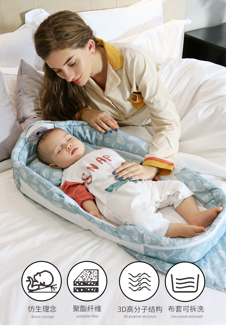 Portable Collapsible Crib Newborn 0-7 Months Baby Bed Multi-function Collapsible Crib Net Weight 2.1kg Breathable Baby Bed