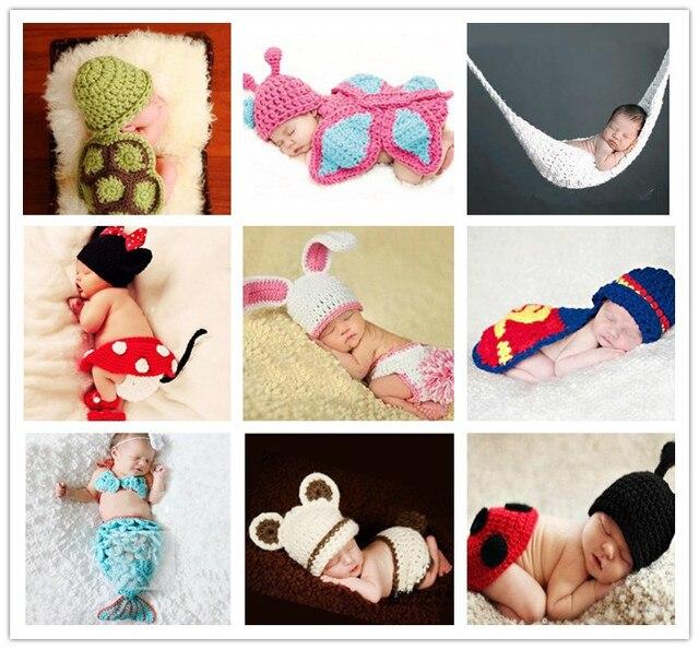 Moda hechos a mano infantil del bebé del Knit traje gorros recién nacido  fotografía proposición Crochet a88e13f63e4