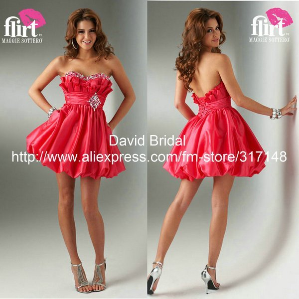 YH096 Sparky Beaded Sweetheart New Fashion Red Short Cocktail Dress 2012