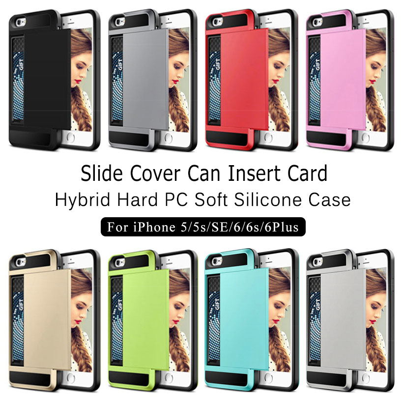 Slide Credit Card Slot Phone Case For IPhone 5 5s SE 6 6s Plus Armor Hybrid Hard PC Soft Silicone Shell Shockproof Back Cover In Half Wrapped From