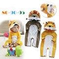 Hot!!! Leão Dos Desenhos Animados Do Bebê Macacões de algodão Longo-sleeved Encapuzados Macacão de Bebê Outono Inverno Bebek Giyim 80-90-95cm Traje para As Crianças