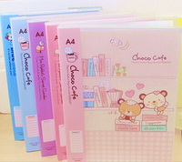 Cartoon Paper File School paper filing bags cute Korean Office School Filing Products with 20 pages inside