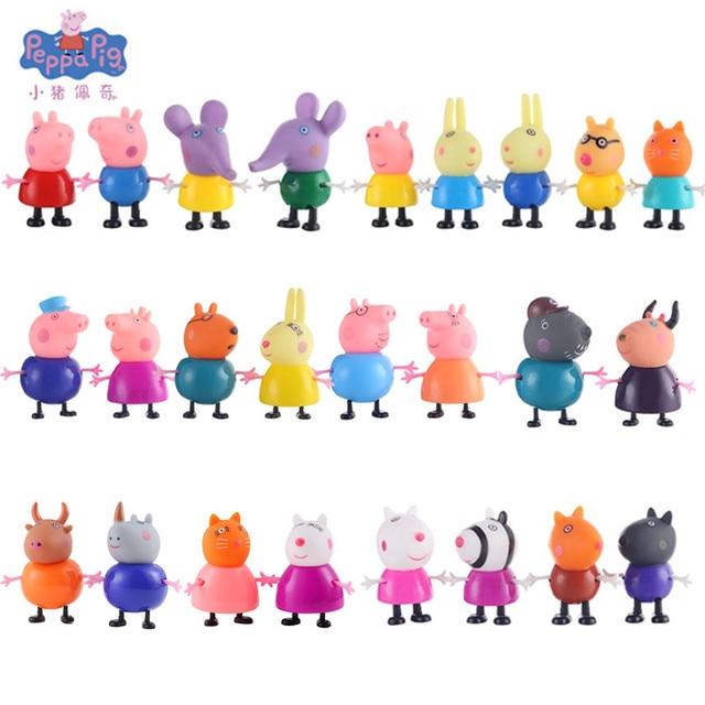 Peppa Pig brinquedos Action Figure Set Família PVC Figura Brinquedos George Mom Papa Avó Avô Mini PVC Estatueta Do Bolo Decorações nova