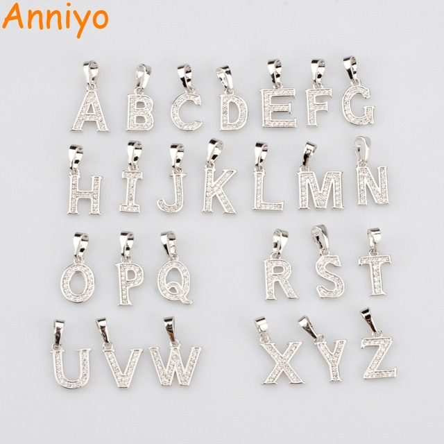 Anniyo 26pieceslot two color wholesale small letters necklace anniyo 26pieceslot two color wholesale small letters necklace initial pendantcubic aloadofball Choice Image