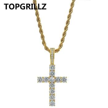 TOPGRILLZ-collar con colgante de Cruz de hiphop, collar Micro pavé AAAA +...