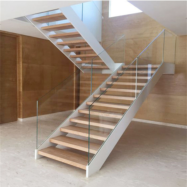 Foshan Factory Tempered Glass Wood U Shape Stairs House Staircase