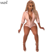 VAZN Special Design 2018 Popular Women Playsuit Half Sleeve Short Rompers Elegant Bodycon Playsuit S646