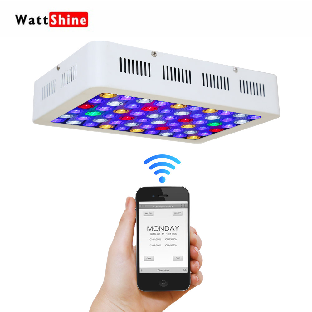 WIFI dimmer 180W led Aquarium landscaping light Time control aquarium lighting LED lamp for Fish Coral tank Free shipping timer control dimmer 180w led aquarium light remote or touch control dimmable freshwater or saltwater pool coral hall fish tank