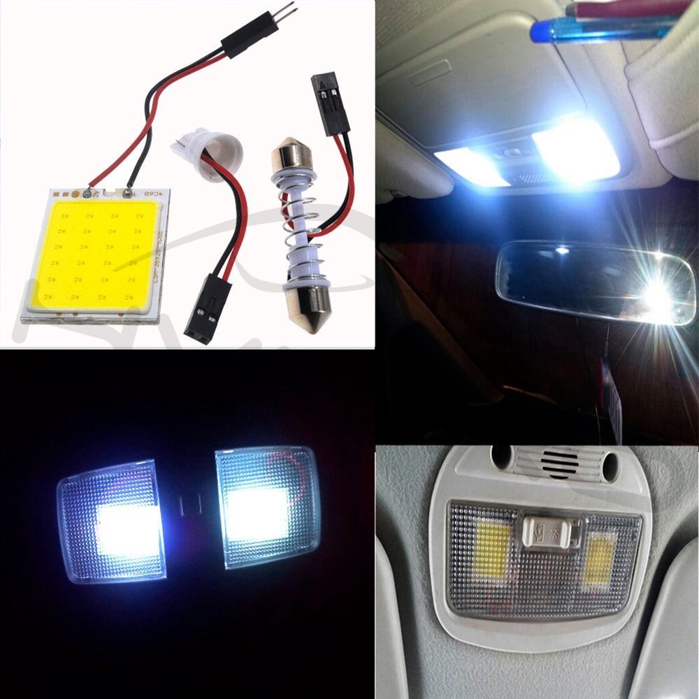 Hviero Promotion 1Pcs White T10 24 Smd Cob Led Panel Car Auto Interior Reading Map Lamp Bulb Light Dome Festoon BA9S 3Adapter DC 12v