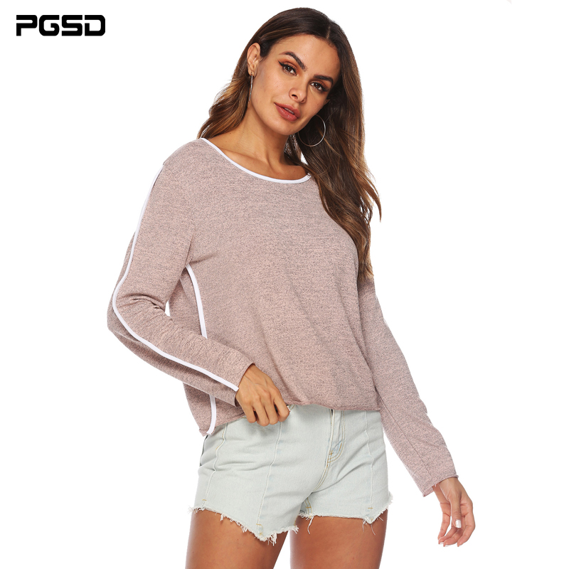PGSD Autumn Winter Women Clothes Simple Fashion Pure Color Long Sleeve O-collar White Stripe Decoration T-shirt Tops Tee Female