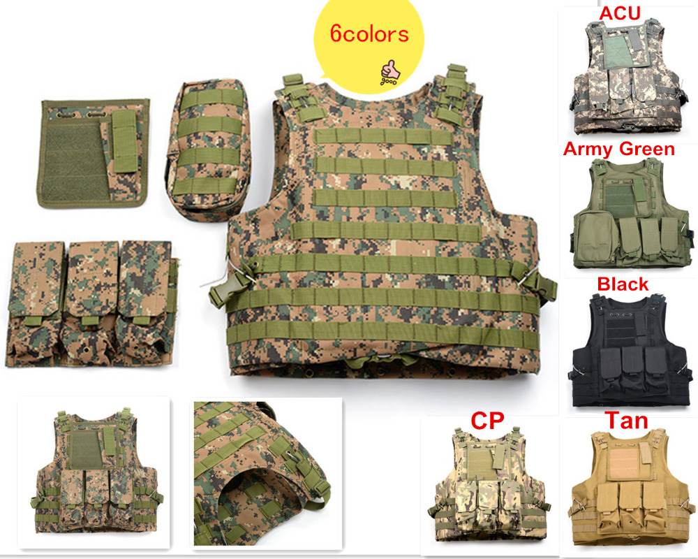 6 Colors Multi Pockets Military Tactical Vest 800D Oxford Multicam Mello Airsoft Paintball Vest US Army Miltary Security Uniform airsoft adults cs field game skeleton warrior skull paintball mask