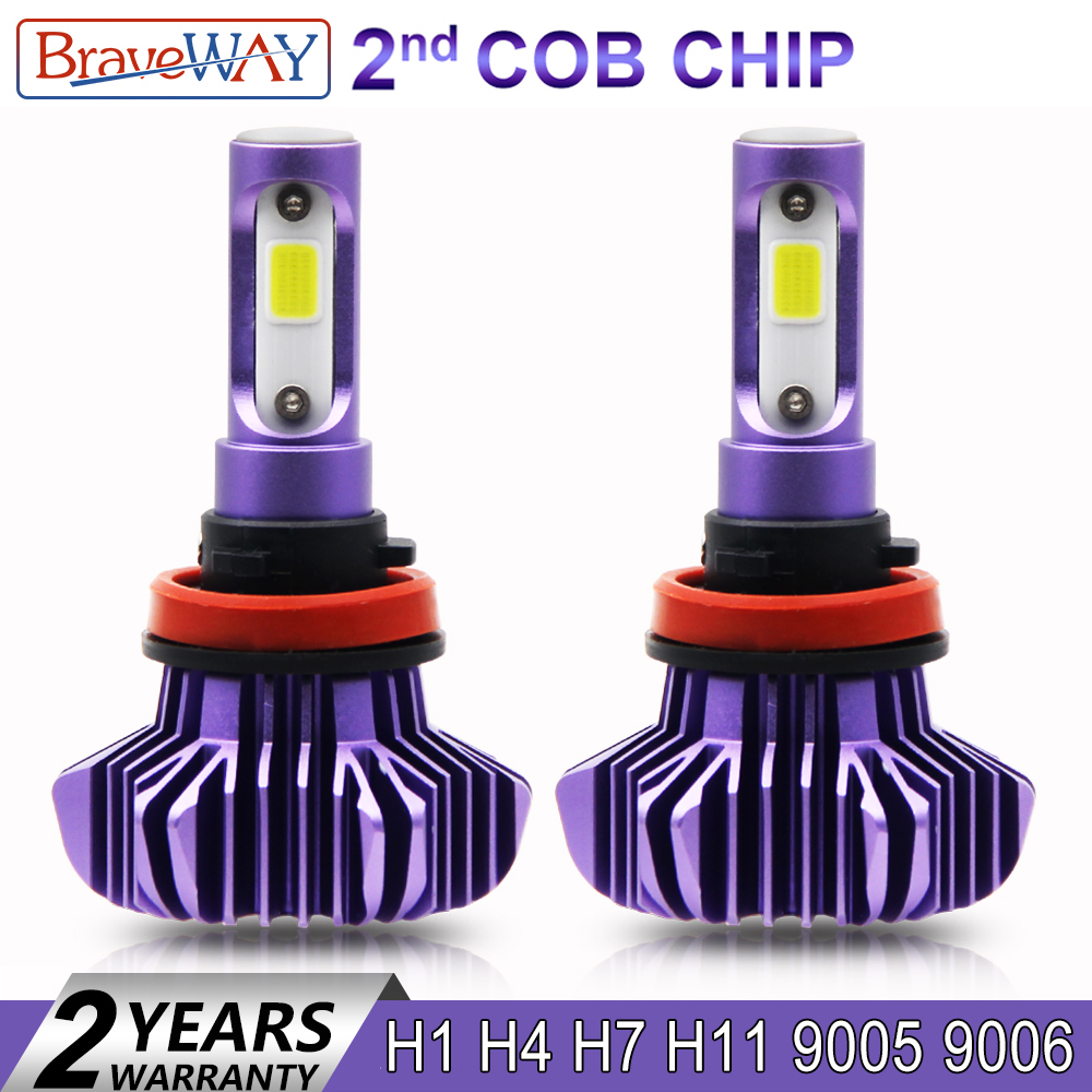 BraveWay 12000LM 2nd COB Led lámpara H4 H7 H1 H11 HB3 HB4 9005, 9006 Led faro de coche Led Bombilla H4 FARO para coches luz Led Auto