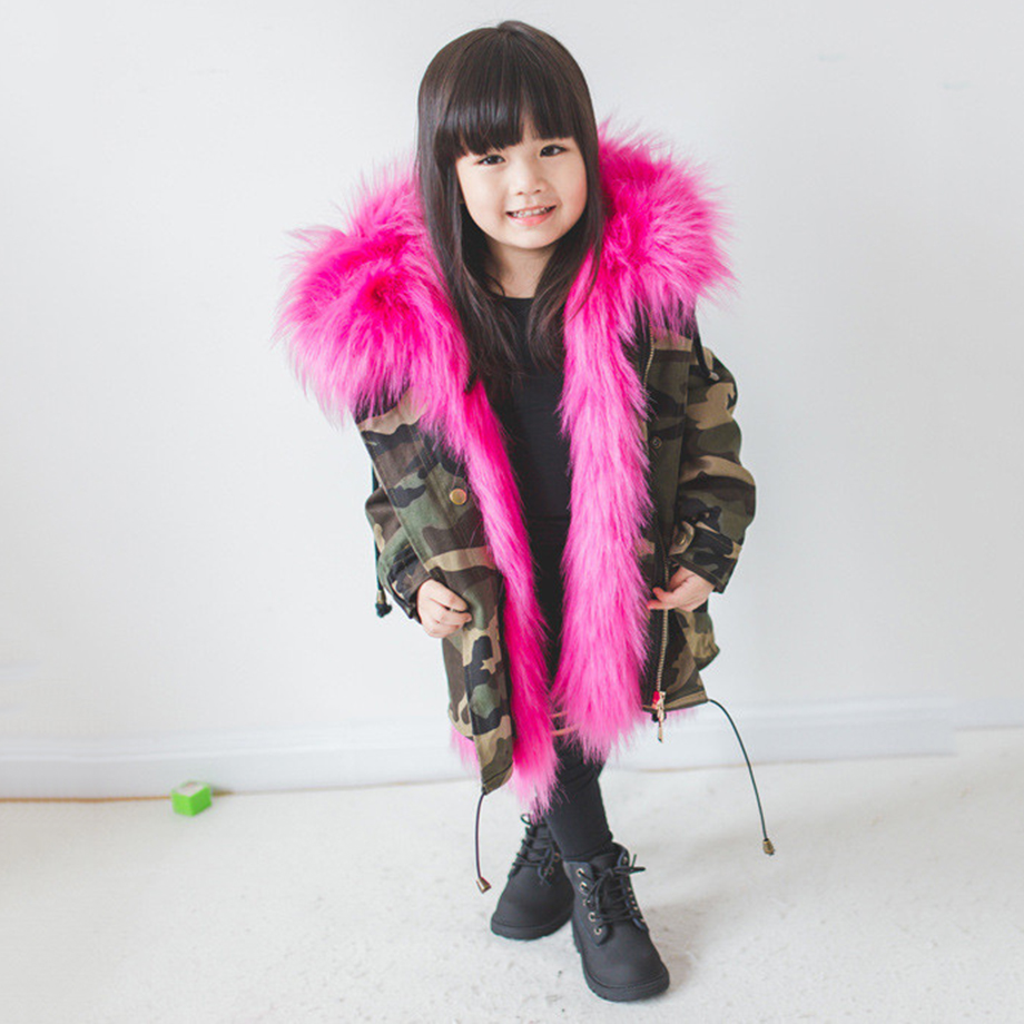 Girls Winter Warm Faux Fox Fur Liner Detachable Coat Girls Boy Christmas School Cute Princess Long Sleeve Snow Keep Warm Jacket 5 colors 2017 new long fur coat parka winter jacket women corduroy big real raccoon fur collar warm natural fox fur liner