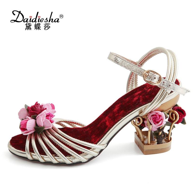 1a181e0484f1 Daidiesha Fashion Bird Cage Heels Women Shoes Sandals Elegant Flower Ladies  Summer Sandals Vintage Velvet Party