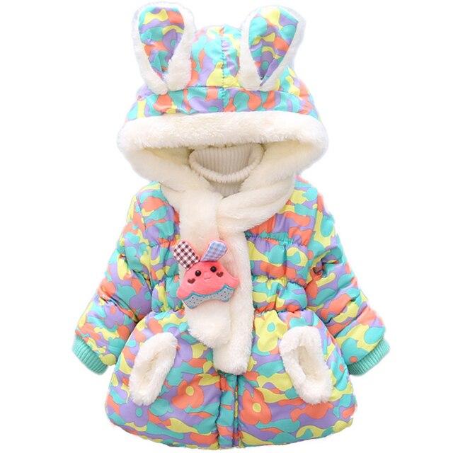 ab352b5c08ad Bibihou Winter Cute Rabbit Baby Jacket Thick Cotton Padded Baby Girl ...