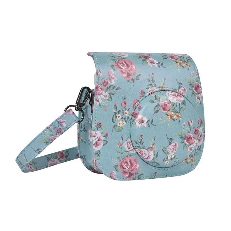 Cewaal Bag For Fuji Fujifilm Instax Mini 8 Small floral Leather Camera Bag Case Pouch Protector For Polaroid Instax Camera