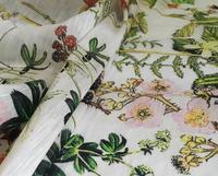 Ultra Beautiful Exquisite Silk Linen Fabric Jungle Landscape Spring Fashion Fabrics Shirts Linen Silk Fashion Cloth