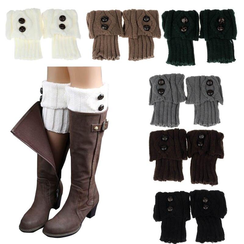 Fashionmoodeosa mujeres invierno pierna calentador botón crochet ...