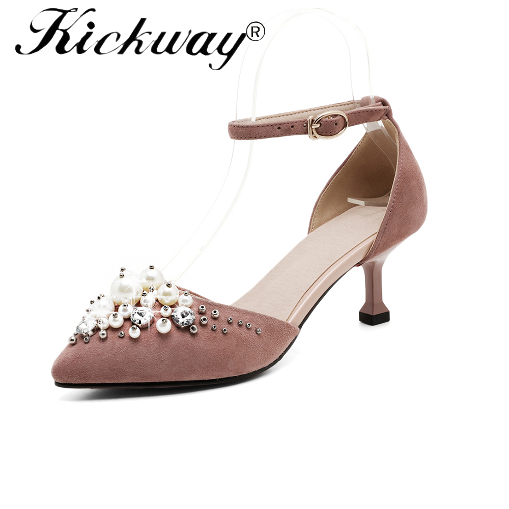 2019 Spring elegant women wedding shoes genuine leather pearl shoes for women pointed toe ankle strap thin high heels size 34-402019 Spring elegant women wedding shoes genuine leather pearl shoes for women pointed toe ankle strap thin high heels size 34-40