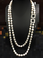 10 11MM Natural Pearl Sweater Chain Necklace Multilayer Double Layer Freshwater Pearl Buckle Baroque 24inch