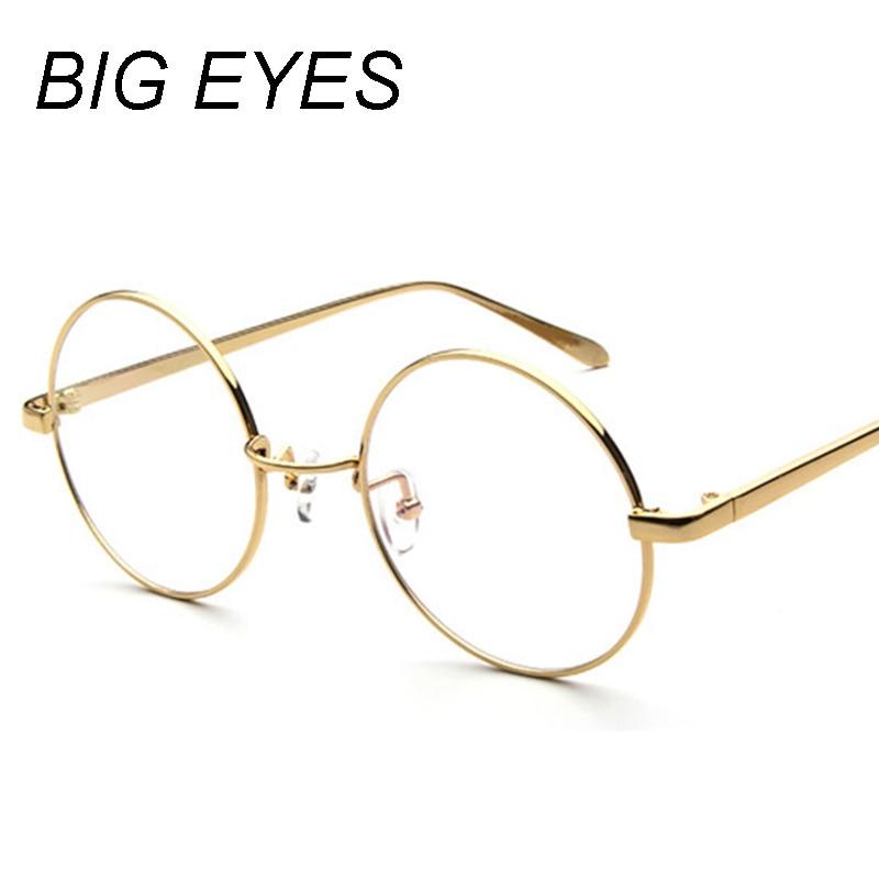Nuevas mujeres Vintage gafas marco Plain espejo Big Round Metal ...