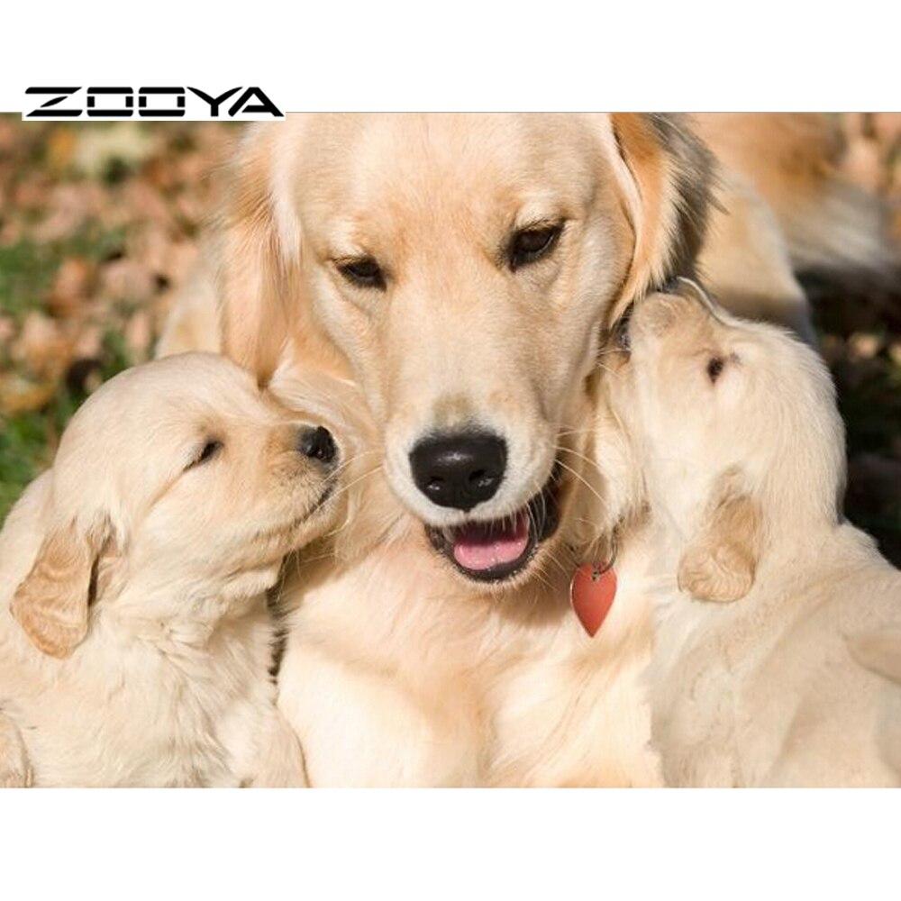 Zooya الماس التطريز الأسرة الكلب الحب - الفنون والحرف والخياطة