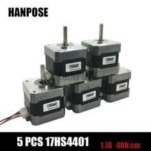 Free shipping 5pcs 4-lead Nema17 Stepper Motor 42 motor Nema 17 motor 1.7A (17HS4401) 3D printer motor and CNC XYZ(China (Mainland))