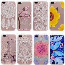 Ультра Тонкий Мягкие TPU Цветок Печатных Case Для iPhone 7 Plus Fundas Силиконовый гель Задняя Крышка Тонкий Ясно Телефон Case Для iPhone 7 Капа
