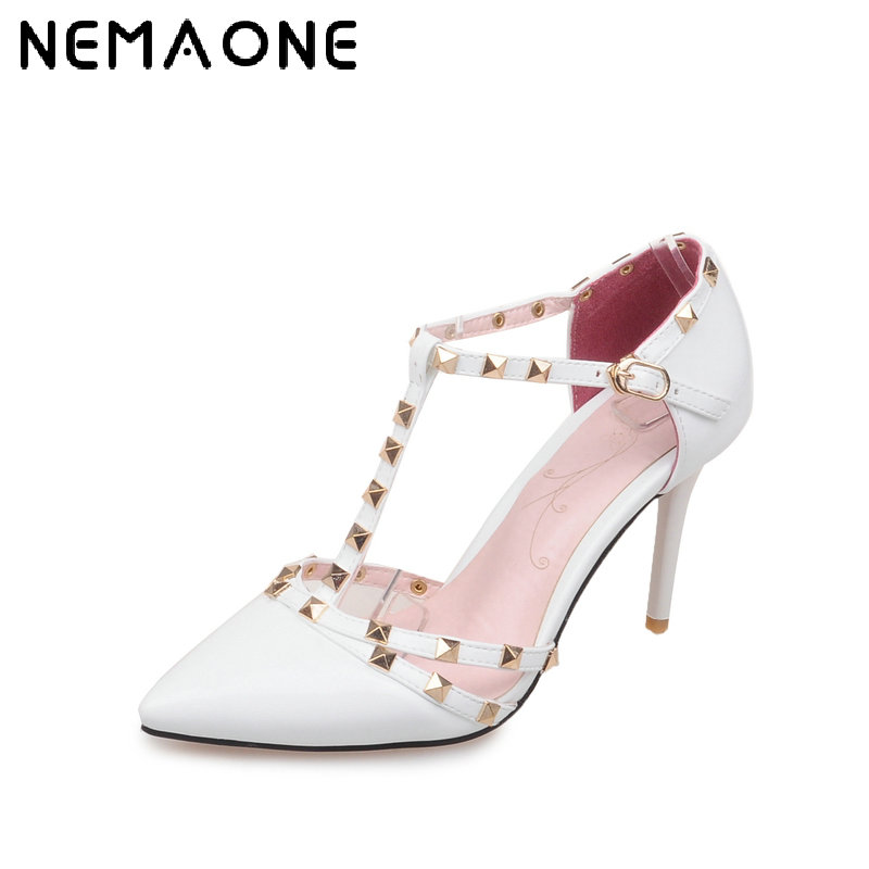 NEMAONE Plus Size Red bottom High heels shoes woman Ladies Sexy Pointed Toe pumps Buckle rivets nude heels dress wedding shoes brand summer pumps shoes woman sexy rivets high heels peep toe platform shoes red party wedding ladies shoes plus size 35 42