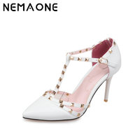 Plus Size Red Bottom High Heels Shoes Woman Ladies Sexy Pointed Toe Pumps Buckle Rivets Nude