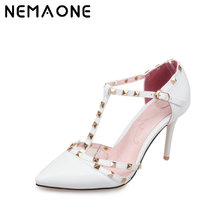 NEMAONE Plus Size Red bottom High heels shoes woman Ladies Sexy Pointed Toe pumps Buckle rivets nude heels dress wedding shoes