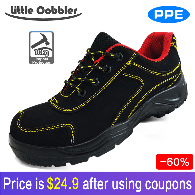 9e0dc4f9b2e Men Women Safety Shoes Steel Toe Work Leather Breathable Lace Up  Polyurethane sole Hiking boots Labor Insurance Shoes-in Safety Shoe Boots  from ...