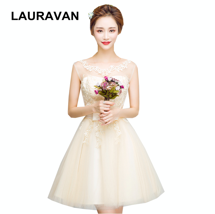 vestidos formales 2018 short robe soiree corset champagne girls bridesmaid  dress in tulle ball gown gowns 582f30714a1f