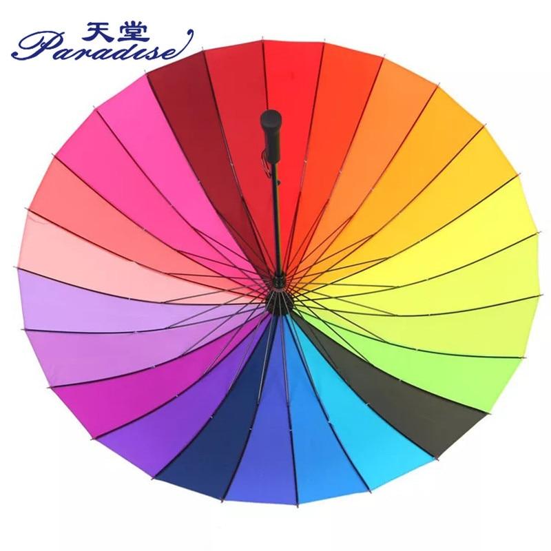 Image 3 - Women Rain Umbrella Rainbow Brand 24K Windproof Long Handle Umbrellas Waterproof Fashion Colorful Paraguas Strong Frame-in Umbrellas from Home & Garden