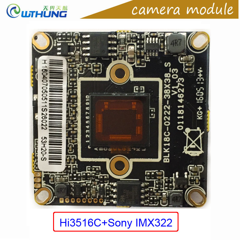 Full 1080P 2.0M 1/2.8 Sony IMX322 CMOS sensor+Hi3516C DSP camera module support Onvif P2P motion detection CCTV IP Cam board lole леггинсы lsw1234 motion leggings m blue corn