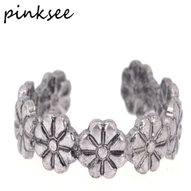 PINKSEE 30pcs New Carved Flower Adjustable Opening Finger Ring Women Girls Ancient Antique Silver Toe Ring Party Fashion Jewelry