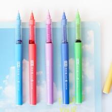 56 pçs/lote Rainbow color gel caneta de tinta 0.5mm ponta da Seringa canetas esferográficas Escritório material Escolar Papelaria caneta colorida EB663