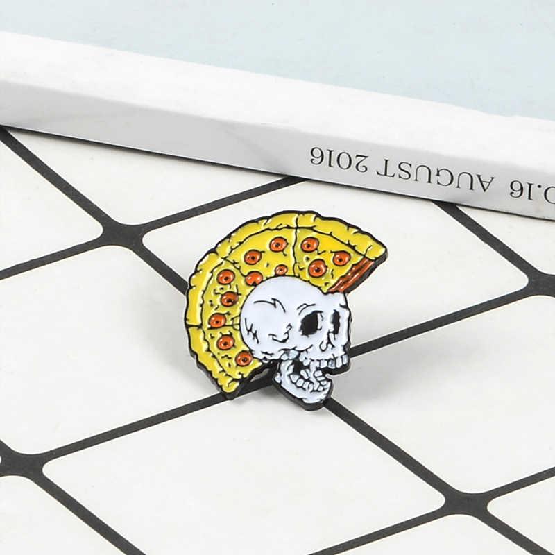 Punk Pizza del cranio dello smalto Spilli Pollo corona rossa occhi skeleton Spille Mash up Distintivi e Simboli spaventoso bone risvolto Gioielli alla moda