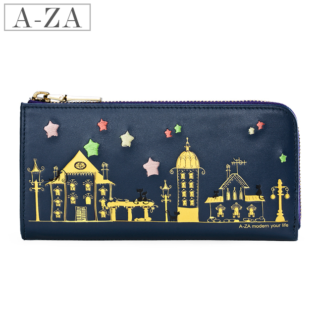 Aza 2013 spring and summer cartoon bronzier line design women's cowhide long wallet 70223
