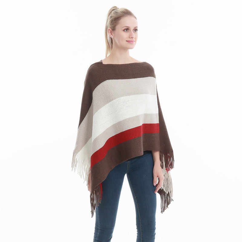 33ee4403c2e Winter Women Knitted Poncho Tassel Thick Sweaters Pullover Casual Scarf  Batwing Sleeve Jumper Striped Sleeveless Plus Size