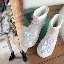 Brand 2019 New Designer Women Snow Boots Slip on Lady Glitter Flower Winter Shoes Snow Boots Bright Warm Botas White Black