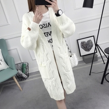 Long Cardigan Female 2017 Autumn Winter Long Sleeve Cardigan Women Sweater Pockets Ladies Knitted Jacket Tops F293