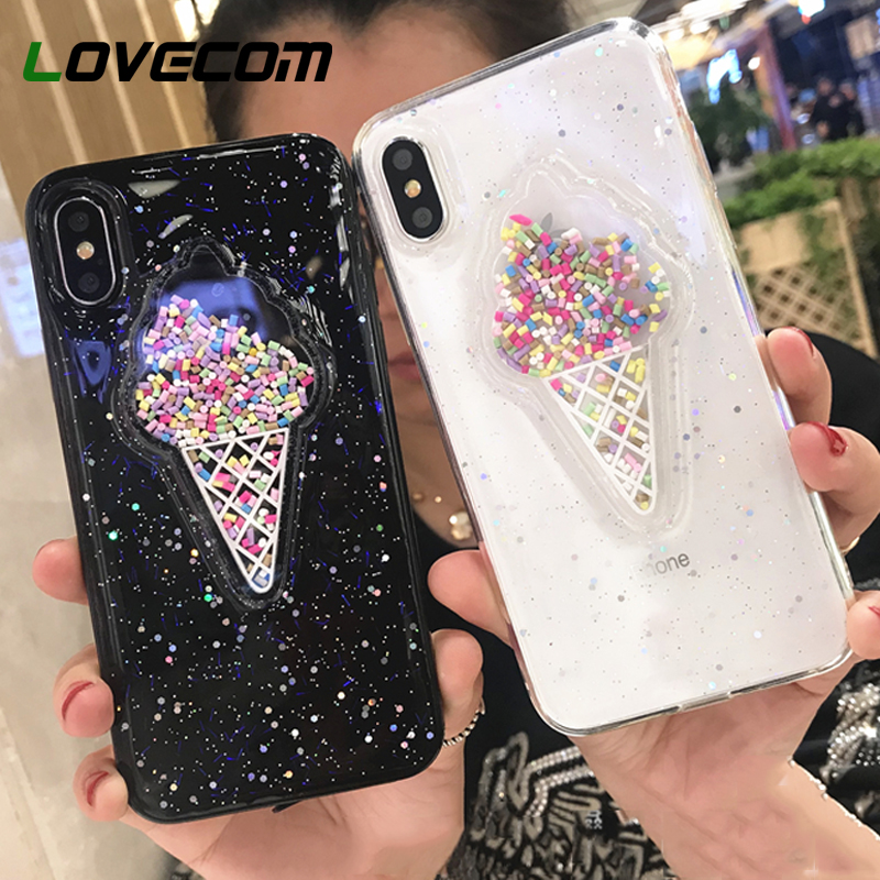 LOVECOM Lovely 3D Summer Ice Cream Phone Case For iPhone 6 6S 7 8 Plus Shining Glitter Powder Soft TPU Back Cover Coque