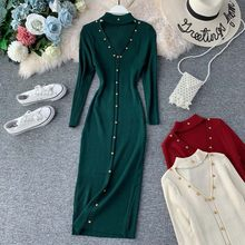 Women 2019 Autumn Winter Sexy Hollow Out Chest With Rivet Knitted sweaters Dress Women Female Stylish Club Party Dress Vestidos(China)