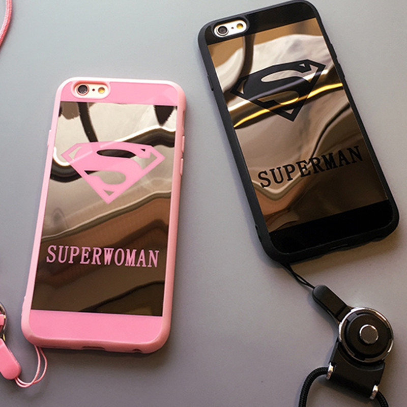 Fashion Brand Superman Superwoman Mirror Phone Case For iPhone 8 7 6 6s Plus 5 5s