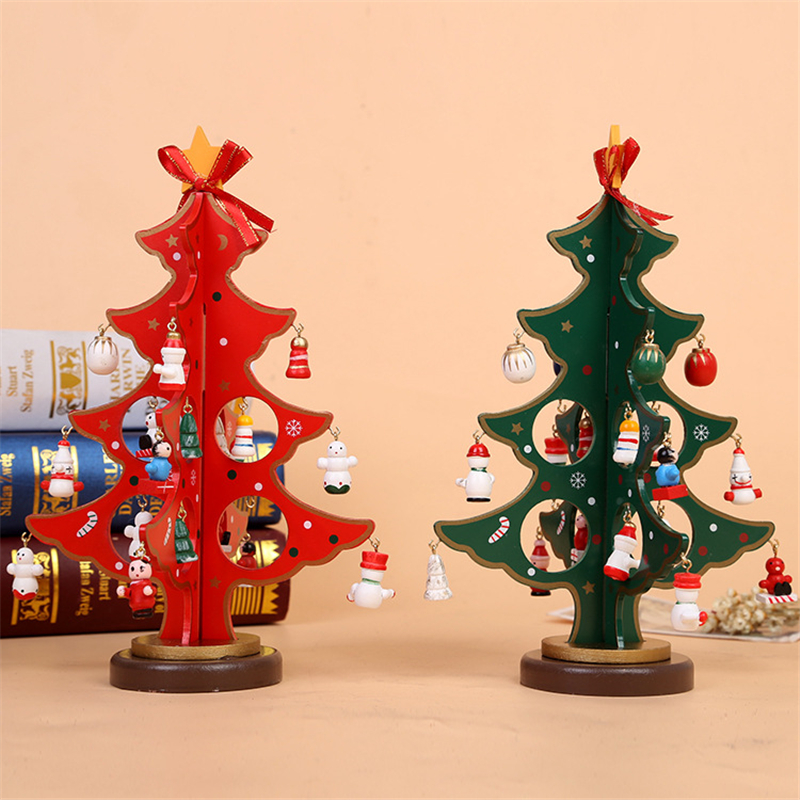 Cool Snowman Decoration Ornaments For Christmas Tree: Creative DIY Wooden Red Green Christmas Tree Decoration