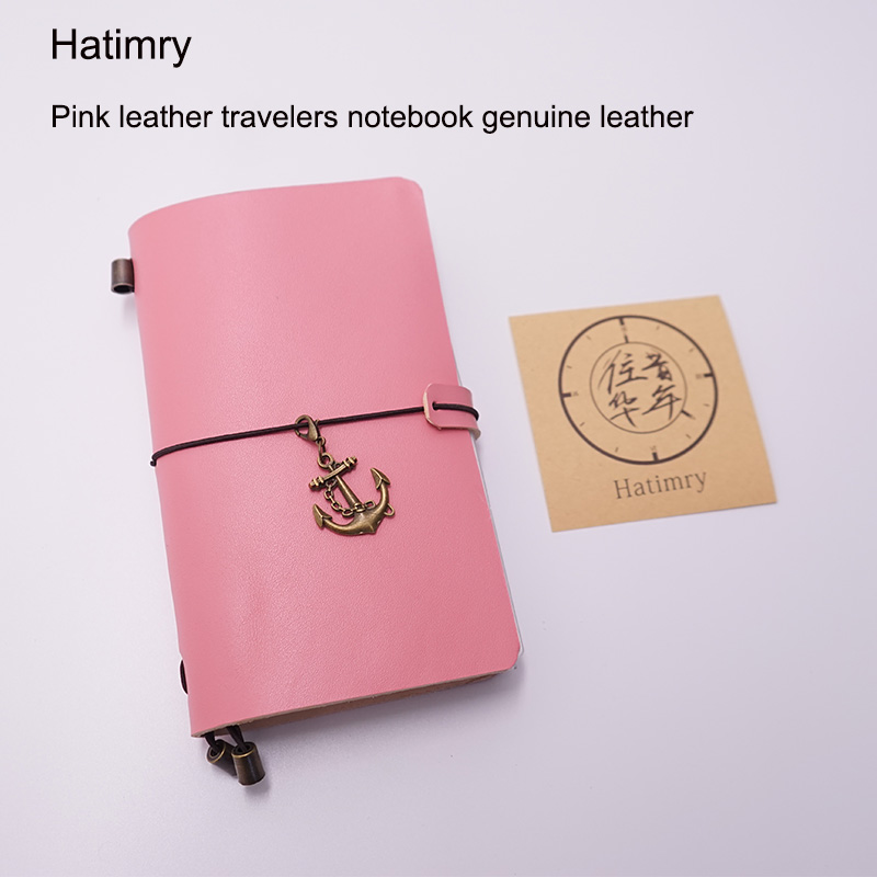 Hatimry Genuine leather travelers jorunal notebook Pink color notepad diary spiral free engrave name school supplies