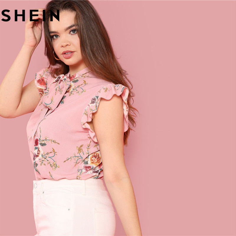 SHEIN Floral Print Pink Ruffle Sleeve Tie Neck Plus Size Elegant Women Blouses Summer Fashion Office Lady Sleeveless Top Blouse  1